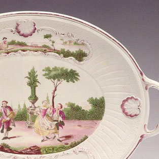 Polychrome platter with dancing couple