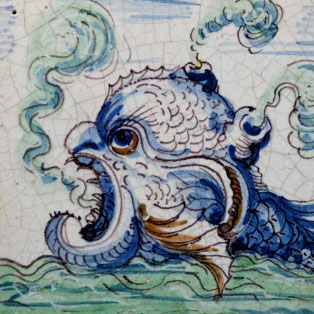 Tile with a sea creature